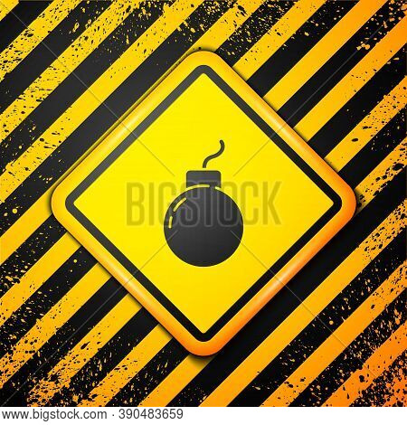 Black Bomb Ready To Explode Icon Isolated On Yellow Background. Warning Sign. Vector