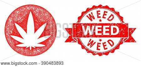 Wire Frame Medical Cannabis Icon, And Weed Corroded Ribbon Seal. Red Stamp Seal Has Weed Title Insid