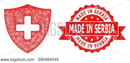Wire Frame Medical Shield Icon, And Made In Serbia Unclean Ribbon Stamp. Red Stamp Seal Has Made In