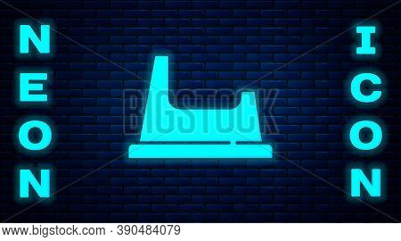 Glowing Neon Baby Potty Icon Isolated On Brick Wall Background. Chamber Pot. Vector