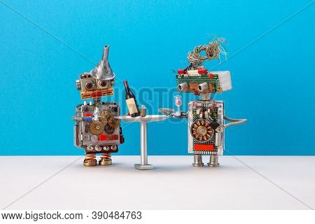 Two Robots Celebrate System Upgrade. Wine Booze Party Concept. Funny Toy Characters At A Simplified