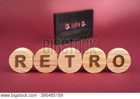 Retro Sign On A Wooden Circles On A Red