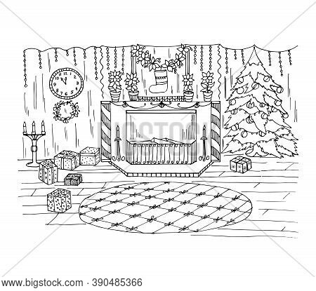 Coloring Book With Christmas Decorations In A Room With A Fireplace, A Christmas Tree With Toys, Clo