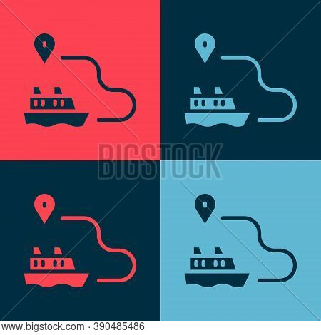 Pop Art Ship Line Path Of Ship Sea Route With Start Point Gps And Black Line Icon Isolated On Color