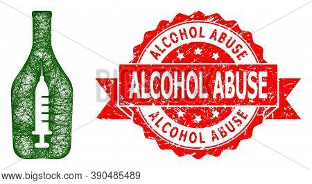 Net Narcotic Alcohol Icon, And Alcohol Abuse Dirty Ribbon Stamp Seal. Red Stamp Seal Contains Alcoho