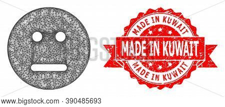 Wire Frame Neutral Smiley Icon, And Made In Kuwait Corroded Ribbon Stamp Seal. Red Seal Includes Mad