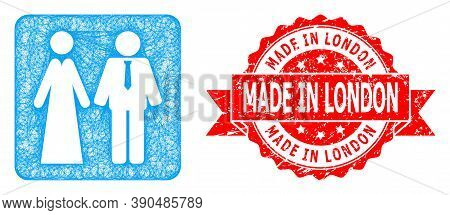 Wire Frame Newlyweds Icon, And Made In London Dirty Ribbon Seal. Red Seal Contains Made In London Ti