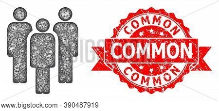 Wire Frame People Icon, And Common Dirty Ribbon Stamp. Red Stamp Includes Common Title Inside Ribbon