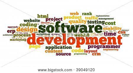 Conceito de desenvolvimento de software na nuvem de Tags no fundo branco
