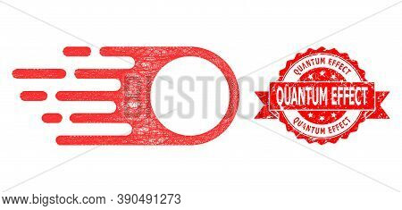Net Photon Flight Icon, And Quantum Effect Corroded Ribbon Seal Print. Red Stamp Seal Includes Quant