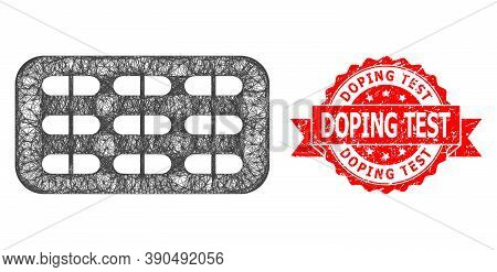 Network Pill Blister Icon, And Doping Test Unclean Ribbon Stamp Seal. Red Stamp Seal Includes Doping