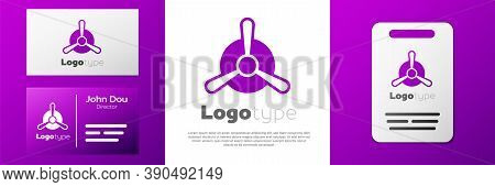 Logotype Plane Propeller Icon Isolated On White Background. Vintage Aircraft Propeller. Logo Design