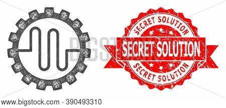 Net Pipe Service Cog Icon, And Secret Solution Unclean Ribbon Stamp Seal. Red Stamp Seal Contains Se