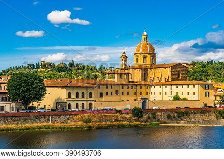 Florence Cityscape skyline with Arno river landmark of Tuscany Italy