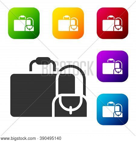Black Suitcase For Travel Icon Isolated On White Background. Traveling Baggage Sign. Travel Luggage