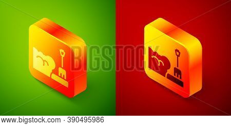Isometric Shovel In Snowdrift Icon Isolated On Green And Red Background. Square Button. Vector