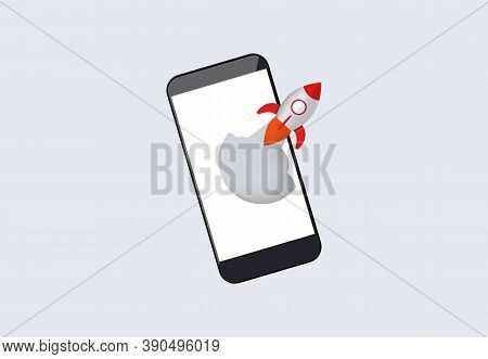 Acceleration Of Mobile Application. Rocket Launches From Smartphone Software Enhancement For New Tas