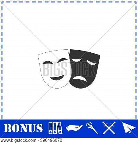 Comedy And Tragedy Theatrical Masks Icon Flat. Simple Vector Symbol And Bonus Icon