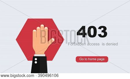 Access Denied 403 Concept. Raised Hand On Red Polygon Restriction Entry Toprohibited Site Dangerous