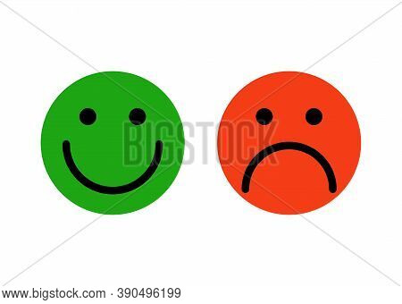 Emoji Face Simple Feedback. Joyful Happy Green Character With Smiling Face And Sad Unhappy Red With