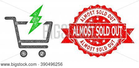 Network Proceed Purchase Icon, And Almost Sold Out Grunge Ribbon Stamp. Red Stamp Seal Includes Almo