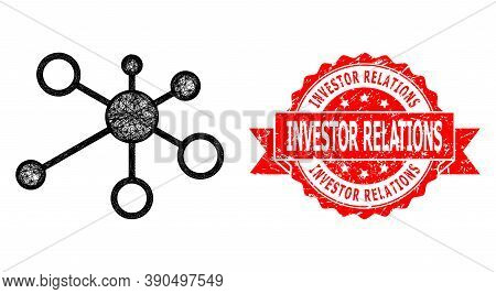 Wire Frame Relations Icon, And Investor Relations Textured Ribbon Stamp. Red Seal Contains Investor