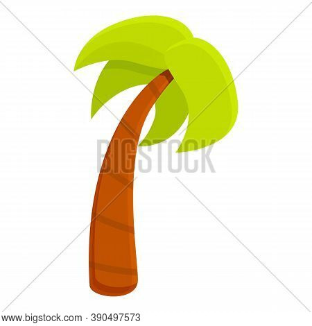 Tall Palm Tree Icon. Cartoon Of Tall Palm Tree Vector Icon For Web Design Isolated On White Backgrou