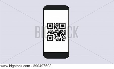 Smartphone With Qr Code. Scanning Of Goods And Applications With Displaying Information On Screen Mo