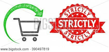 Wire Frame Repeat Purchase Order Icon, And Strictly Grunge Ribbon Stamp Seal. Red Seal Includes Stri
