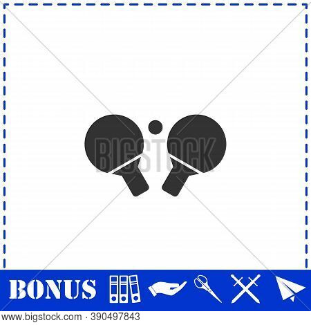 Ping Pong Icon Flat. Simple Vector Symbol And Bonus Icon