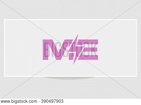 Electric Power With Me Letter Logo Design Vector. Minimal Me Letter And Bolt Vector Icons.