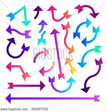 Arrow Set - Set Of Colorful Arrow Designs In Different Styles - Swatches Colorful Arrows Set Icons -