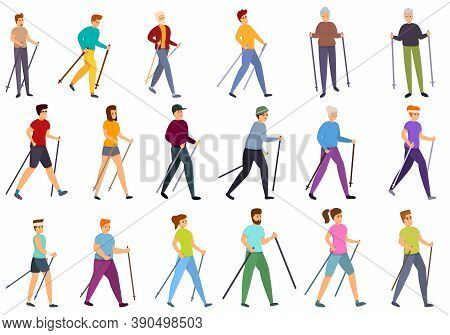 Nordic Walking Icons Set. Cartoon Set Of Nordic Walking Vector Icons For Web Design