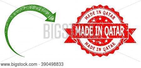 Wire Frame Rotate Forward Icon, And Made In Qatar Dirty Ribbon Stamp Seal. Red Stamp Seal Includes M