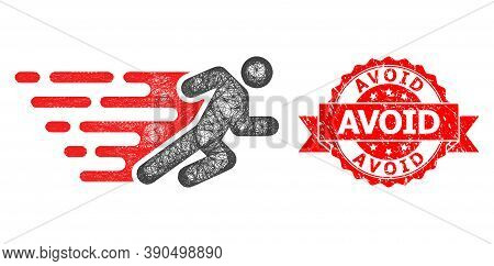 Wire Frame Running Man Icon, And Avoid Rubber Ribbon Seal Imitation. Red Stamp Seal Includes Avoid C