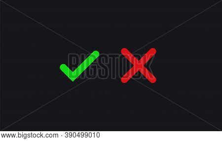 Check Mark. Positive And Negative Voting Approved Choice Decision And Negatory Agreement Checklist O