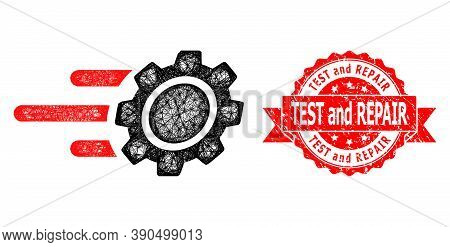 Network Rush Gear Icon, And Test And Repair Corroded Ribbon Seal Imitation. Red Stamp Seal Includes