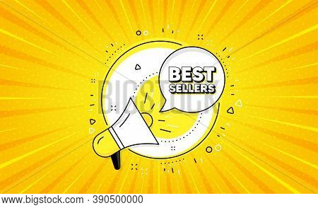 Best Sellers. Yellow Vector Button With Megaphone. Special Offer Price Sign. Advertising Discounts S