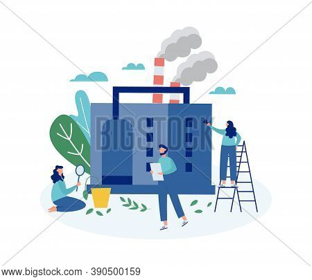 Ecologists Taking Care Of Earth, Flat Cartoon Vector Illustration Isolated