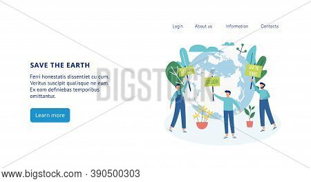Banners With Ecologists Protesting Against Planet Pollution A Vector Flat Illustration