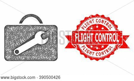 Net Service Toolkit Icon, And Flight Control Textured Ribbon Stamp Seal. Red Stamp Seal Has Flight C