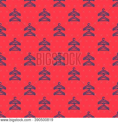 Blue Line Hanger Wardrobe Icon Isolated Seamless Pattern On Red Background. Cloakroom Icon. Clothes