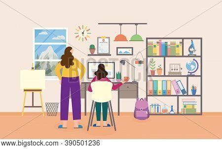 Vector Flat Illustration Of Schoolgirl Studying In Home Study Room