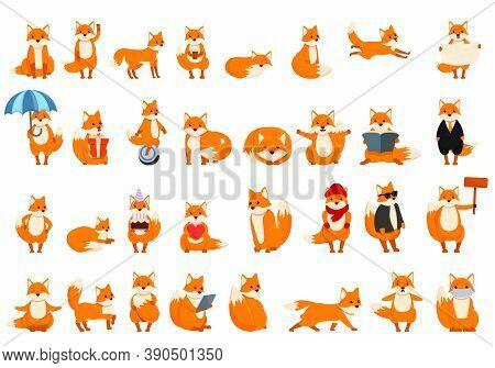 Fox Icons Set. Cartoon Set Of Fox Vector Icons For Web Design