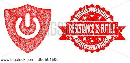 Network Shield Turn Off Icon, And Resistance Is Futile Scratched Ribbon Stamp. Red Stamp Has Resista