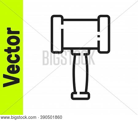 Black Line Judge Gavel Icon Isolated On White Background. Gavel For Adjudication Of Sentences And Bi