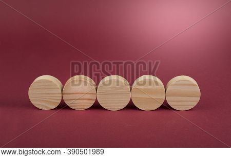 Blank Wooden Circles For Conceptual Sign On A Red