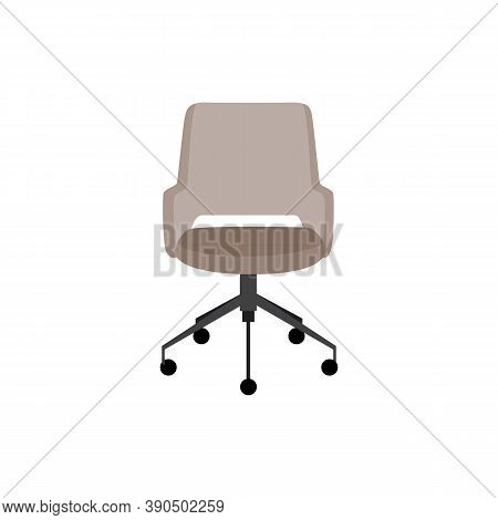 Comfortable Modern Office Chair Icon, Flat Cartoon Vector Illustration Isolated.