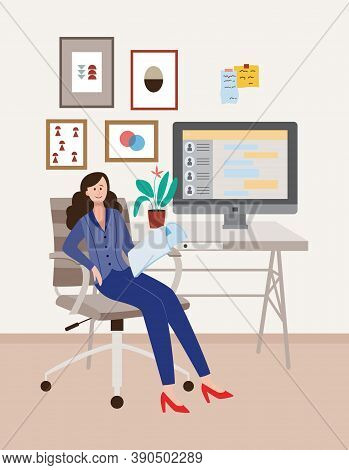 Office Employee Or Businesswoman In Office Or Home Cabinet A Vector Illustration