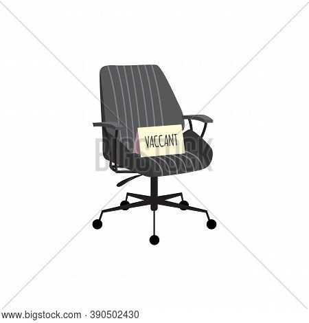 Comfortable Office Chair With Vacant Sign, Flat Vector Illustration Isolated.